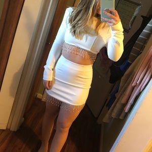 Crystal Lies skirt Set-White